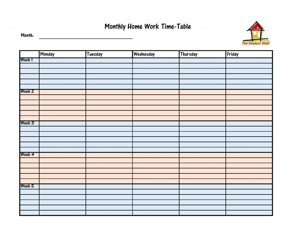 Monthly Homework Time-Table