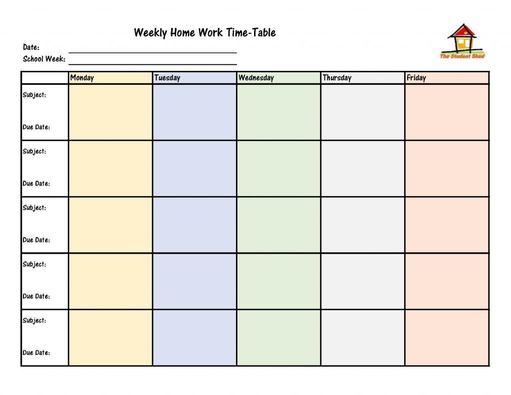 Weekly Homework Time-Table