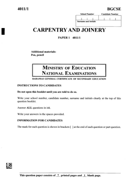 BGCSE Carpentry and Joinery Past Papers